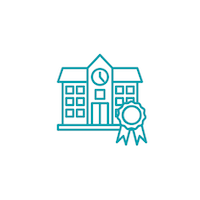 Icon of a school with an award ribbon.