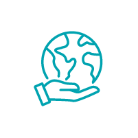 Icon of a hand holding a globe.