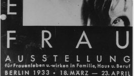 A poster for a exhibit, featuring a photograph of a woman with a kerchief on her hair and a child.