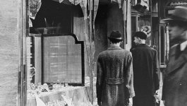Shattered storefront of a Jewish-owned shop in Berlin destroyed during Kristallnacht on November 10, 1938.