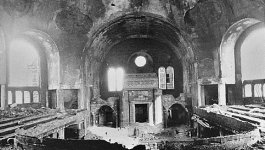 Interior of a destroyed synagogue following Kristallnacht in November 1938.