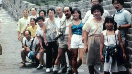 Several generations of the Wong family stands on the side of the Great Wall in China.