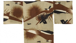 Childs kimono depicting a military scene.