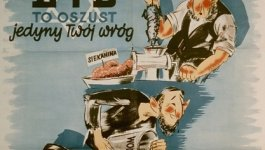 Antisemitic propaganda poster showing a caricature of a Jewish men putting a rat in a meat grinder.