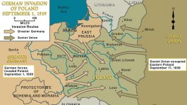 Map showing the German invasion of Poland that occurred during 1939.