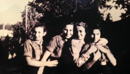 Photograph of Elsa Binder (at left) and friends.