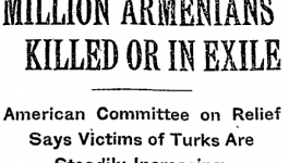 "New York Times headline from December 15, 1915 reading ""Million Armenians Killed or in Exile""."