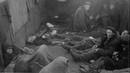Photograph of survivors in the Theresienstadt ghetto at the time of liberation.