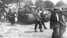 Russian tanks rolling into Theresienstadt ghetto during World War II liberation.
