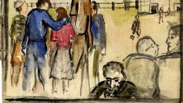 A watercolor from a sketchbook kept during the Holocaust