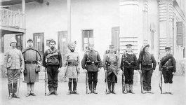Eight soldiers, each one representing a territory in the Eight Nations Alliance. From left to right: Britain, United States, Australian Colonial, British India, Germany, France, Austria-Hungary.