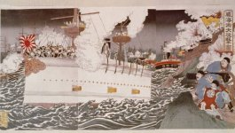 Illustration of a Japanese ship firing weapons at the Chinese shore.