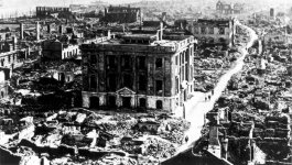 A view of destruction resulting from the Kanto earthquake of 1923. This is a view of Tokyo as seen from the top of the Imperial Hotel, which was the only hotel in the region that survived.