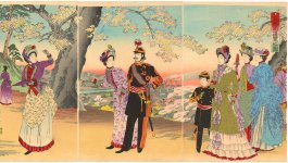 Crown Prince Tōgu with his father and mother strolling in Asukayama Park