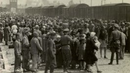 Large group of men, women, and children, some in striped prison uniforms and a few men in Nazi uniforms outside of the entrance to Auschwitz.
