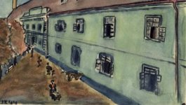 Watercolor of a barracks building next to a road with several people walking, circa 1944.