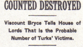 """New York Times headline from October 7, 1915 reading """"800,000 Armenians Counted Destroyed""""."""