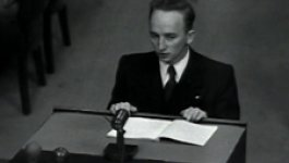 Photograph of Chief Prosecutor Benjamin Ferencz at the Nuremberg Trial.