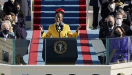 Amanda Gorman speaking at the 2021 inauguration of President Joe Biden.