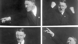 A set of four photos showing Adolf Hitler's enthusiastic oratorical skill.