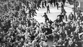 Demonstrators flee at the Battle of Cable Street.