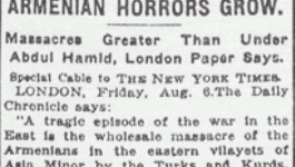 "New York Times headline from August 6, 1915 reading ""Armenian Horrors Grow"""