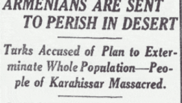 "New York Times headline from August 18, 1915 reading ""Armenians Are Sent to Perish in Desert""."