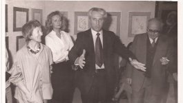 Photograph of Holocaust survivor Ava Kadishson Schieber and Shlomo Lahat, the Mayor of Tel Aviv. circa 1978.