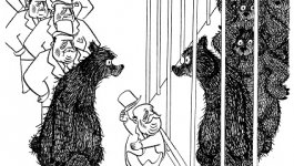 An illustation from Frank Tashlin's The Bear That Wasn't. Bear and executives at the zoo in front of a bear cage.