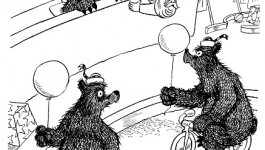 An illustration from Frank Tashlin's book The Bear That Wasn't. Bear and executives talk to bears on bycles at zoo.