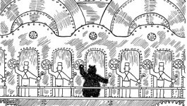 An illustration from Frank Tashlin's The Bear That Wasn't. A bear works in a factor with factory workers.