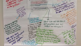 A large white sheet of paper with handwritten student comments annotating a text.