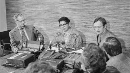 A press conference with Harry Strom, Harold Cardinal, and Jean Chretien to negotiate fate of Blue Quills Residential School in 1970.