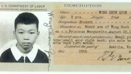 Immigration card of Calvin Chew Wong circa 1938
