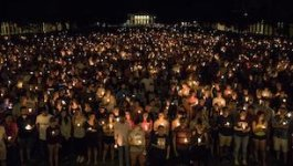 View of a candlelight vigils from above