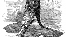 Sketch of a European imperialist standing with legs straddled and arms out.