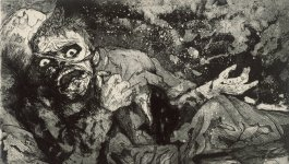 Etching depicting a wounded World War One soldier moments after he is injured..