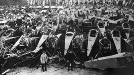 Photo of dismantled German military aircraft.