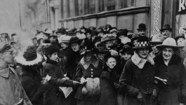 Crowd of women in Weimar Germany in front of a polling station waiting to vote for the first time in 1919.