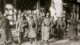 Free Corps soldiers standing in the street circa 1920