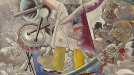 """Painting title """"The Agitator"""" by George Grosz showing a man holding a bullhorn and a flag, surrounded by a crowd of people and other objects."""