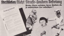 Poster depicting three handicapped children and German text along the top.
