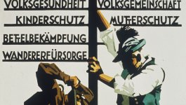 Poster with illustration of two men, one in a Nazi uniform, one in traditional German clothing, digging and installing a road sign.