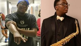 Photo of a black teenager wearing a bandana and pointing forward, next to a photo of the same teenager in a tuxedo and holding a saxophone.