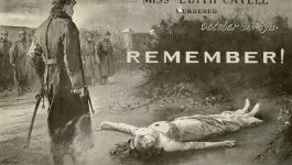 A British propaganda poster depicting the execution of Edith Cavell in 1915.