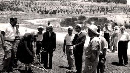 Gertruda Babilinska plants a tree in the Avenue of the Righteous at Yad Vashem in June 1962.