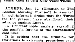 "New York Times headline from January 13, 1915, reading ""Christians in Great Peril."""