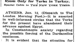 "New York Times headline from January 12, 1915 reading ""Christians in Great Peril."""