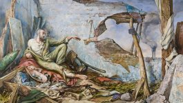 Painting titled The Creation of Wartime by Samuel Bak. Depicts a man with outstretched hand sitting on a pile of rubble and belongings against the crumbling walls of a house or other structure.