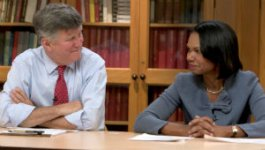 US Secretary of State Condoleezza Rice and historian David M. Kennedy explore American ideals and identity.